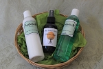 Olde Salem Scents Gift Basket- 8 oz. bath gel 8 oz. Aloe Moisturizer and 4 oz. cologne spray.